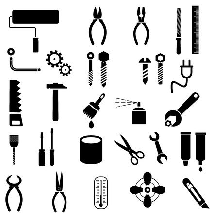 Hand tools - set of icons. Isolated symbols on white background.