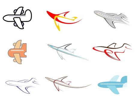 Illustration for Airplane - set of isolated vector icons. - Royalty Free Image