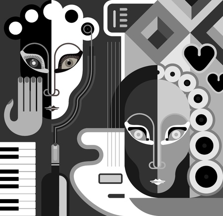 Musical Party - abstract illustration. Black and white stylized collage. Fine art.