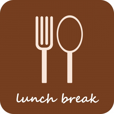 Lunch Break - isolated vector icon on light-brown background.