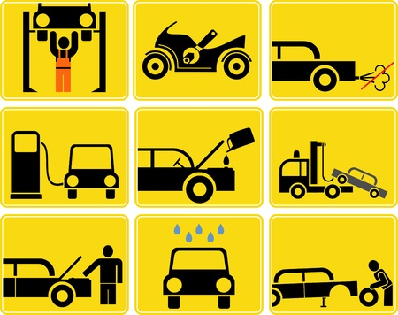 Car and Motorcycle service - set of isolated vector icons. Yellow/Black signs. Gas station, tire and motor oil change, car wash. Engine inspection.