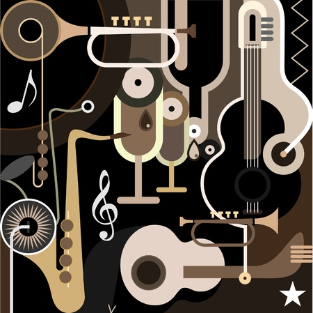 Music Background - color illustration. Abstract collage with musical instruments - guitar s
