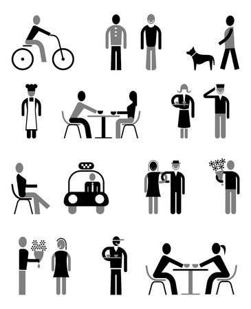 People vector icons set - isolated black and grey on white