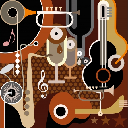 Abstract Music Background - illustration. Collage with musical instruments.
