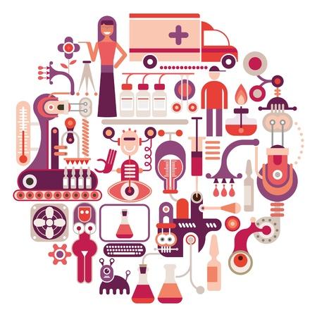 Pharmaceutical laboratory - round  illustration on white background. Medical manufacturing.