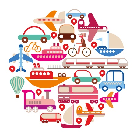 Foto de Travel and Transport - isolated round illustration on white background - Imagen libre de derechos