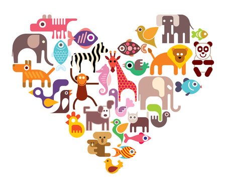Heart with animal vector icons. Isolated color illustration on white background.のイラスト素材