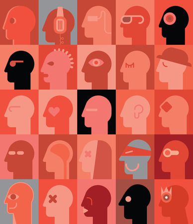 Human Heads vector illustration. Can be used as seamless wallpaper.