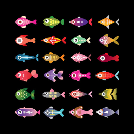Exotic aquarium fishes - set of colorful vector icons. Isolated on black background.のイラスト素材