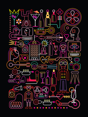 Disco Party vector illustration. Neon colors silhouettes on black background.