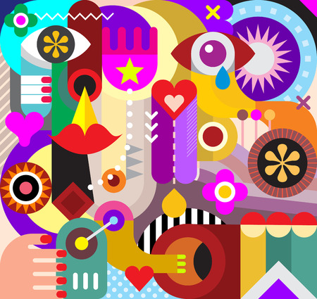 Abstract art vector background. Decorative collage of various objects and shapes.