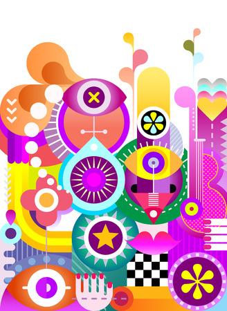 Abstract art vector background. Decorative vibrant color collage of various objects and shapes.