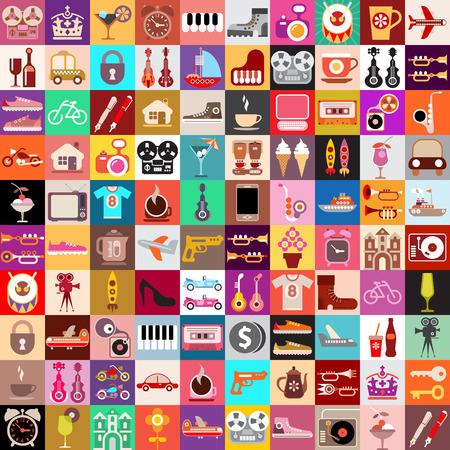 Illustration pour Vector graphic design of various random objects.  Collage of multiple images. - image libre de droit