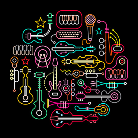 Musical instruments round illustration. Neon colors silhouettes on a black background.
