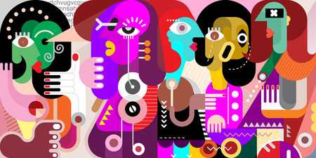 Ilustración de Abstract fine art portrait of five adult people. illustration of a  large company of people who have something to discuss. - Imagen libre de derechos