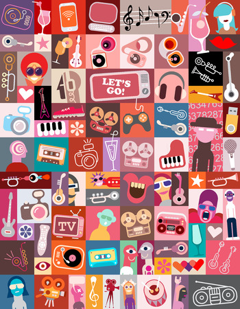 art collage of various images with a musical and entertainment themes featuring the Let's Go! text.
