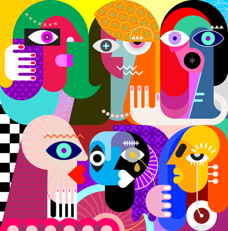 Illustration pour Five women and a man vector illustration. Modern abstract fine art painting. - image libre de droit