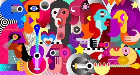 Illustration pour Large group of people at a music festival abstract art vector illustration. - image libre de droit