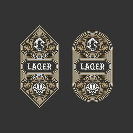 Illustration for Two flourishes beer label design templates with hops. Vector illustration. - Royalty Free Image