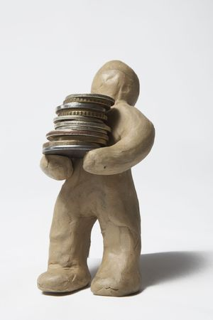 The plasticine person earns money in the various ways