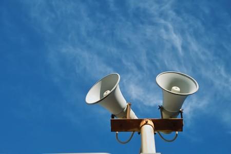 Loudspeaker against the sky