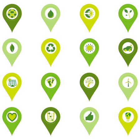 Set of sixteen pinpoint icons of bio eco environmental related symbols in four shades of green