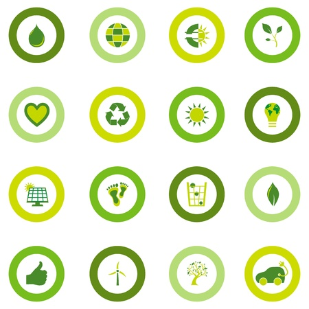 Set of sixteen round icons filled with bio eco environmental symbols in four shades of green