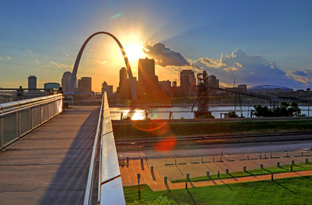 Photo for St. Louis, Missouri skyline from Malcolm W. Martin Memorial Park. - Royalty Free Image