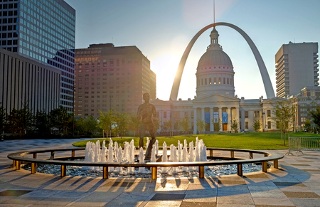 Photo for Sept. 23, 2017 - St. Louis, Missouri - Kiener Plaza and the Gateway Arch in St. Louis, Missouri. - Royalty Free Image