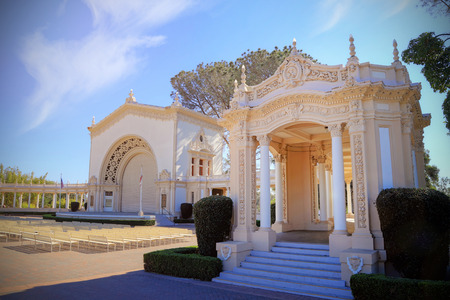 San Diego, California, USA - February 5, 2018: Spreckels Organ Pavilion, is a structure in Balboa Park, San Diego that houses one of the world's largest outdoor pipe organs.