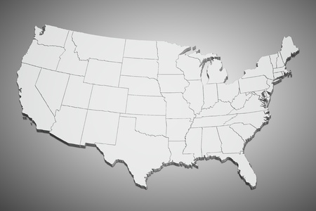 Map of the continental United States in 3D on gray background.