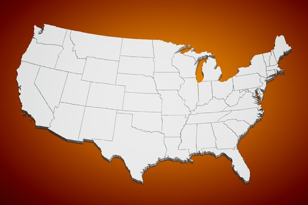 Map of the continental United States orange background.