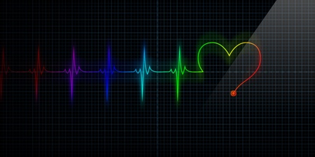 Horizontal and Colorful Pulse Trace Heart Monitor with the symbol of a heart inline with the pulse.