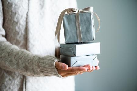 Foto de Female hands holding gift box. Copy space. Christmas, hew year, birthday concept - Imagen libre de derechos