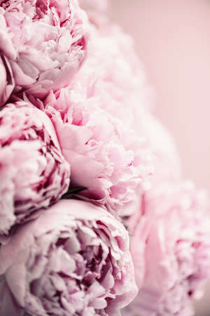 Photo for Wedding, birthday, anniversary bouquet. Pink peony flower on pastel background. Copy space. Trendy pastel floral composition. Woman day, Mothers day. Macro of peonies flowers - Royalty Free Image