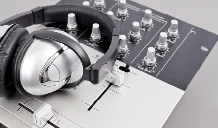 Studio Mixer and Headphones