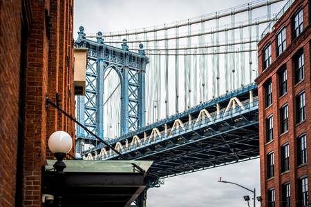 Photo pour Fine Art Photography of Manhattan bridge in Dumbo Brooklyn NYC - Cityscape - image libre de droit