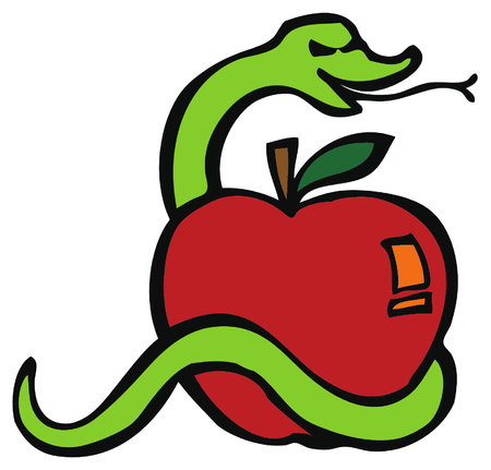 Ilustración de Serpent or snake and the apple or fruit of temptation, cause of Adam and Eve getting out of the paradise or Garden of Eden. - Imagen libre de derechos