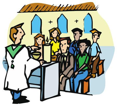 Ilustración de Religious service or mass in a Christian Church. The priest is preaching to the congregation - Imagen libre de derechos