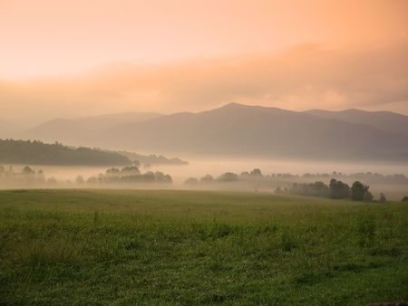 Foggy sunrise over Cades Cove, Great Smoky Mountains National Park
