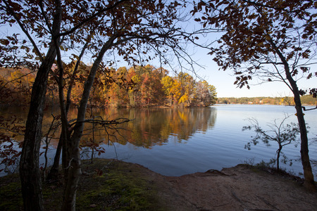 A scenic autumn view on Lake Norman in North Carolina