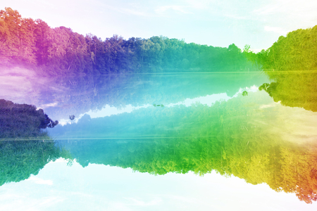 Foto de A colorful psychedelic abstract image of a lake. - Imagen libre de derechos