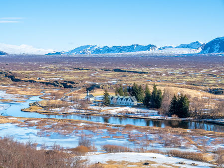 Thingvellir natural place in Iceland, is boundary between North American plate and Eurasian plate. Outstanding with many natural things.