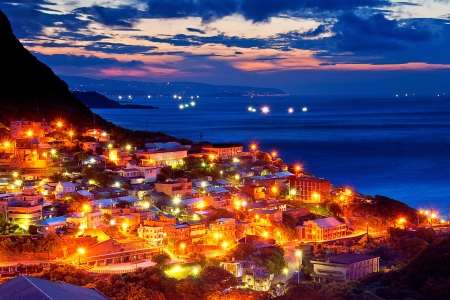Beautiful night view of the Taiwan coast
