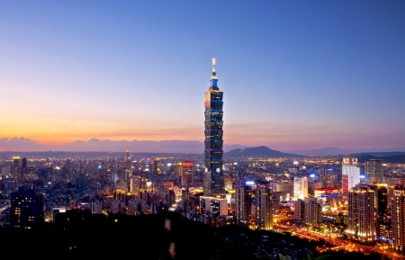 Taipei city at dusk views