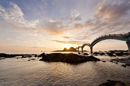 The coast beautiful sunrise in Taiwan Sanxiantai