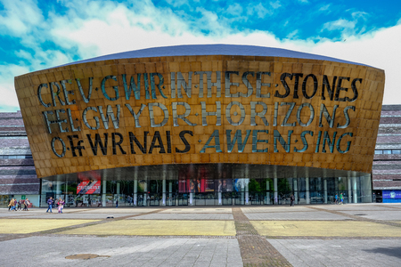 Cardiff Bay, Wales - May 20,2017: Millennium Centre for Arts, face-on view.