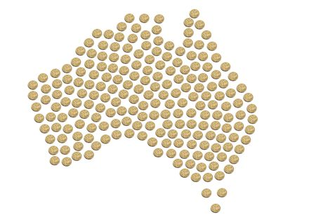 Map of Australia made out of Australian one dollar coins