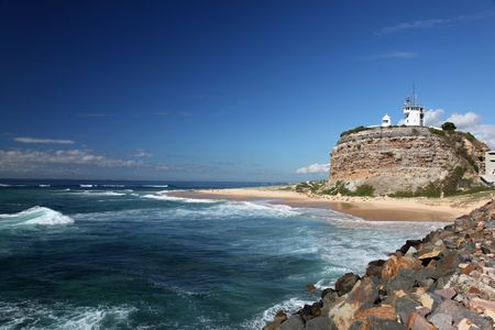 Nobbys Lighthouse - Famous landmark in Newcastle Australia. This landmark is often used for promotional material for Newcastle and Hunter Valley region.