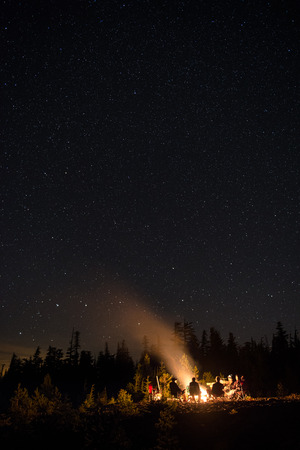 A group of friends conversing at a campfire in the mountains under the star filled sky.